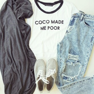 black and white t-shirt white white t-shirt shirt coco channel coco made me poor coco coco tshirt coco shirt