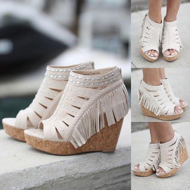 shoes wedges cream wedges fringe wedges cute shoes summer shoes  savedbythedress - Shoes: Wedges, Cream Wedges, Fringe Wedges, Cute Shoes, Summer
