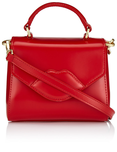 mini lips bag leather red