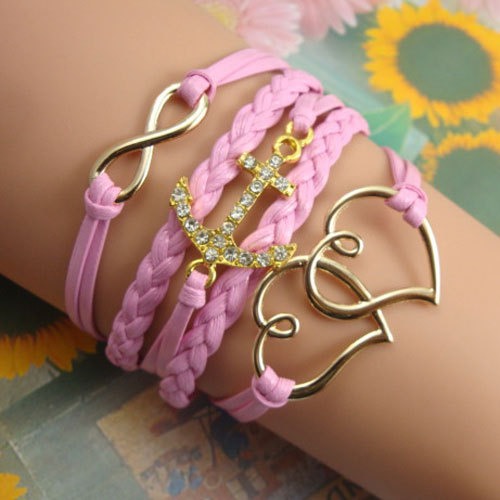 [grxjy5120197]Anchor Double Heart Pendant Pink String Charm Bracelet