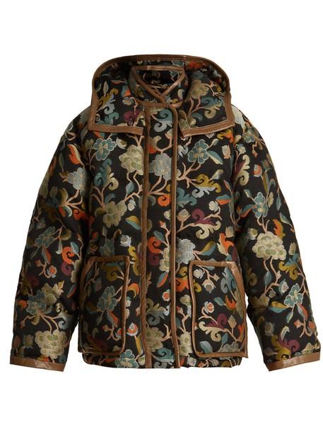 jacket jacquard quilted floral mandala black