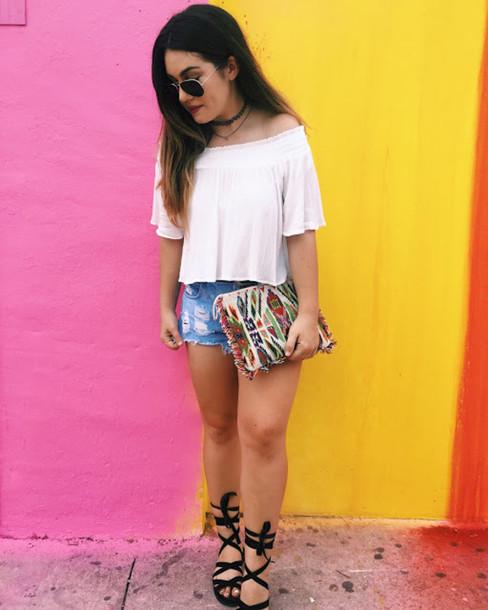 madison lane blogger belt bag shoes jewels sunglasses off the shoulder choker necklace denim shorts clutch round sunglasses