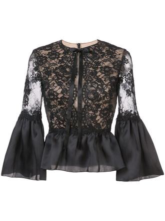 blouse women lace black silk top