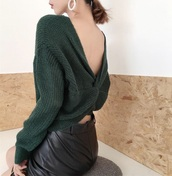 sweater,girly,green,knitwear,knit,knitted sweater,backless
