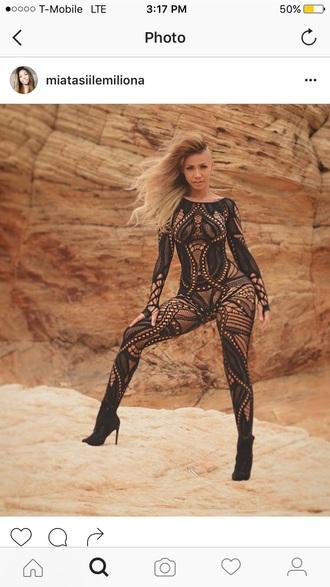 jumpsuit geometric bodysuit bodystocking lingerie black