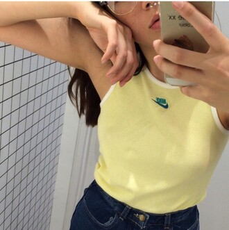 top nike yellow vest sporty tank top vintage 90s style