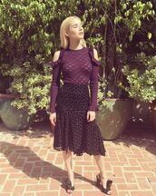 skirt,blouse,lace dress,midi skirt,top,emma roberts,instagram,sandals,lace top,lace,shoes