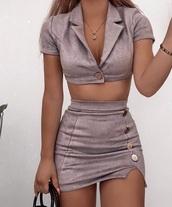 dress,lilac,purple,pastel,set,2 piece dress set,short sleeve dress,top,skirt,mini skirt,button up,crop tops,v neck,cut-out,velvet,suede