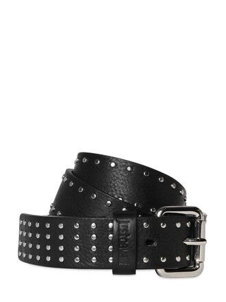 studded belt waist belt leather black