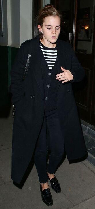 top stripes striped top emma watson coat