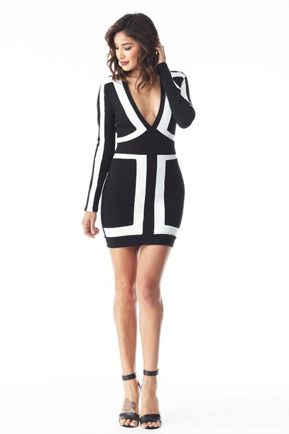 535018eafd3f61 dress black bandage dress black bandage dress herjunction her junction black  dress black and white long
