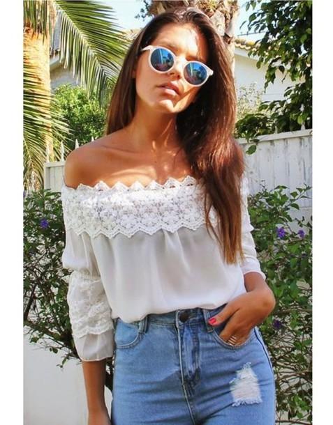 blouse white shirt chiffon boho summer off the shoulder shirt