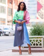 dress,striped dress,midi dress,mini bag,sandal heels,silk dress