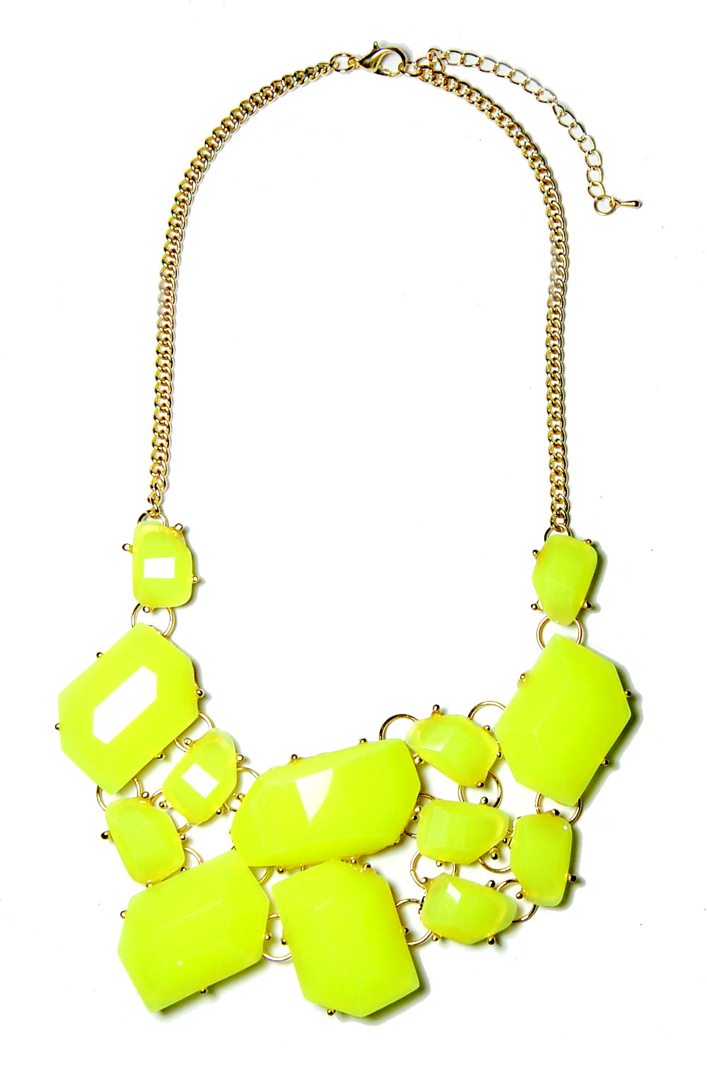 Hot Pink Stone Fragments Statement Bib Necklace