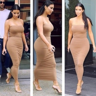strapless beige dress kim kardashian dress