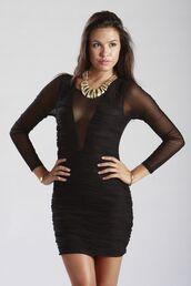 dress,little black dress,see through dress,v plunge,bodycon dress