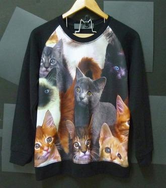 sweater cat shirt cat sweater black cat shirt cute sweatshirt jumper women shirts women clothing winter sweater long sleeves crewneck teen sweater animal sweater leggings