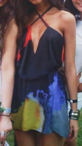 dress multi colored prom dress halter dress