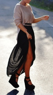 skirt,top,shoes black wedges,shoes,classic,maxi skirt,black,summer,long behind,sweater