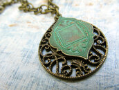 jewels,bohemian,vintage,copper,india,indian,necklace,pendant,green,gold