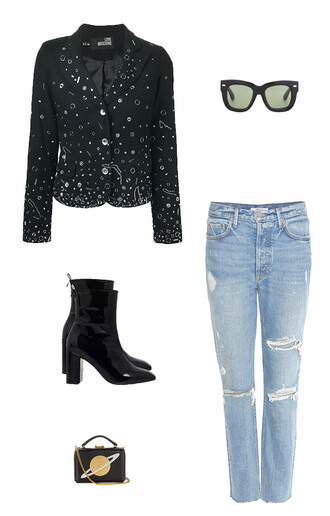 jacket distressed denim embellished embellished jacket science planets patent shoes