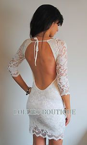 John Zack Ivory Cream Backless Lace Bodycon Mini Dress New Size 6 8 10 12 14 16 | eBay