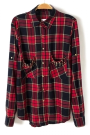 Preppy Studded Tartan-Print Shirt - OASAP.com