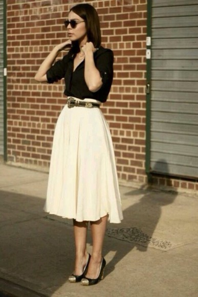 pinterest skirt beige skirts vintage simple skirt
