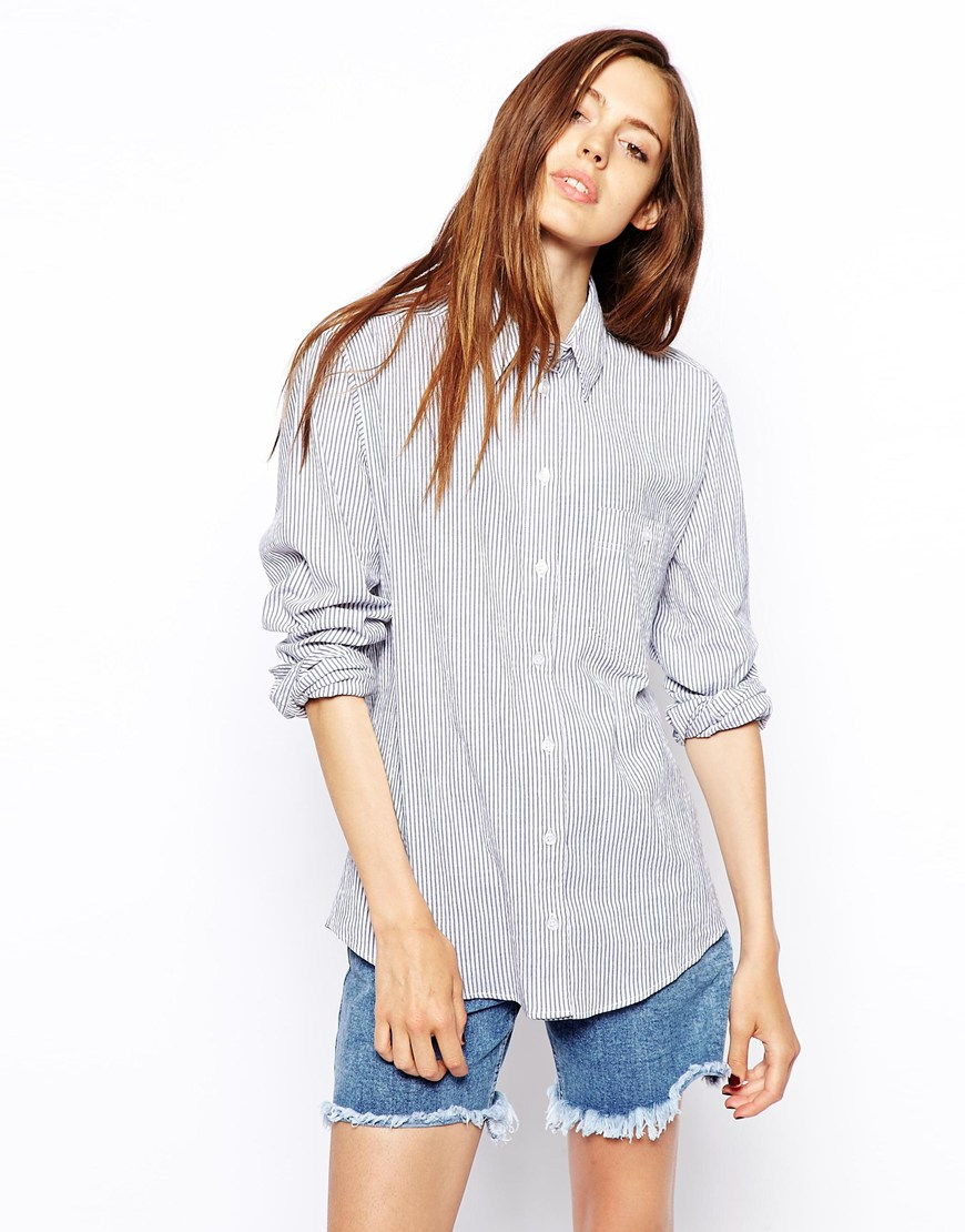 Asos boyfriend shirt in stripe at asos.com