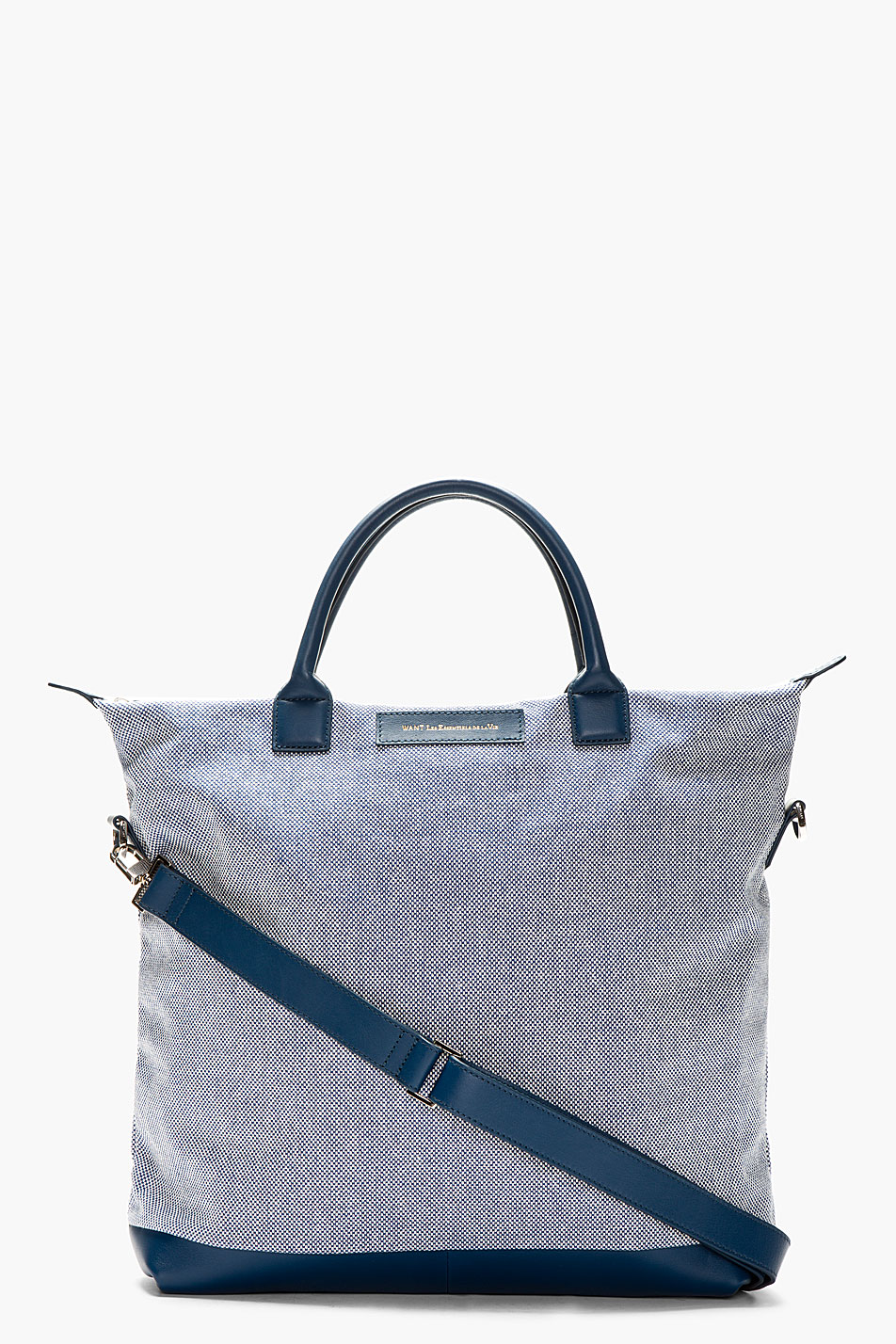 want les essentiels de la vie indigo and white basketwoven ohare tote