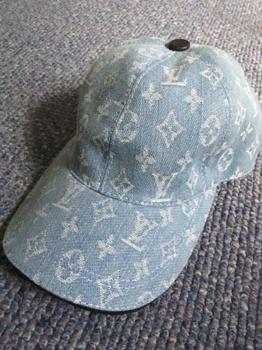Louis Vuitton Custom Vintage Baseball Cap Blue Denim RARE LV ... 995507ceffe