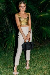 bag,top,crop tops,gold,gold top,pants,caroline daur,blogger,blogger style