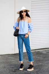 fit fab fun mom,blogger,jeans,bag,sunglasses,jewels,off the shoulder,blue top,black bag,cropped jeans,white hat,spring outfits,off the shoulder top,peasant top,blue off shoulder top,cropped bootcut jeans,cropped bootcut blue jeans,frayed denim,sun hat,aviator sunglasses,black choker,choker necklace,shoes,black shoes,platform shoes,puffed sleeves