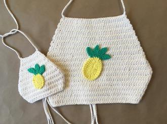 top girl girly girly wishlist crochet crochet top pineapple halter top halter crop top cute pineapple print matching set mother and child