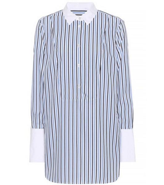 Equipment Striped cotton wide-cuff shirt in blue