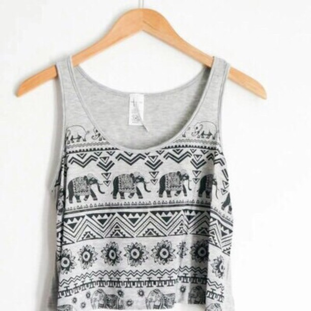 tank top grey grey elephant pattern fashion indie