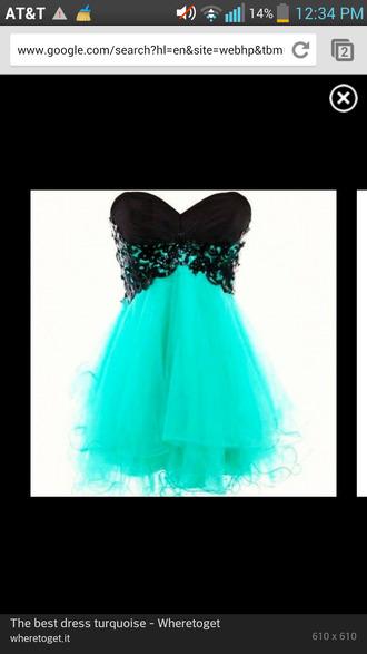 dress turquoise lace black beautiful