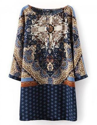 dress brenda shop vintage retro pattern tunic dress tunic mini dress
