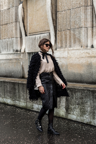 the fashion fraction blogger turtleneck beige sweater leather skirt black boots cape fall outfits buckle boots