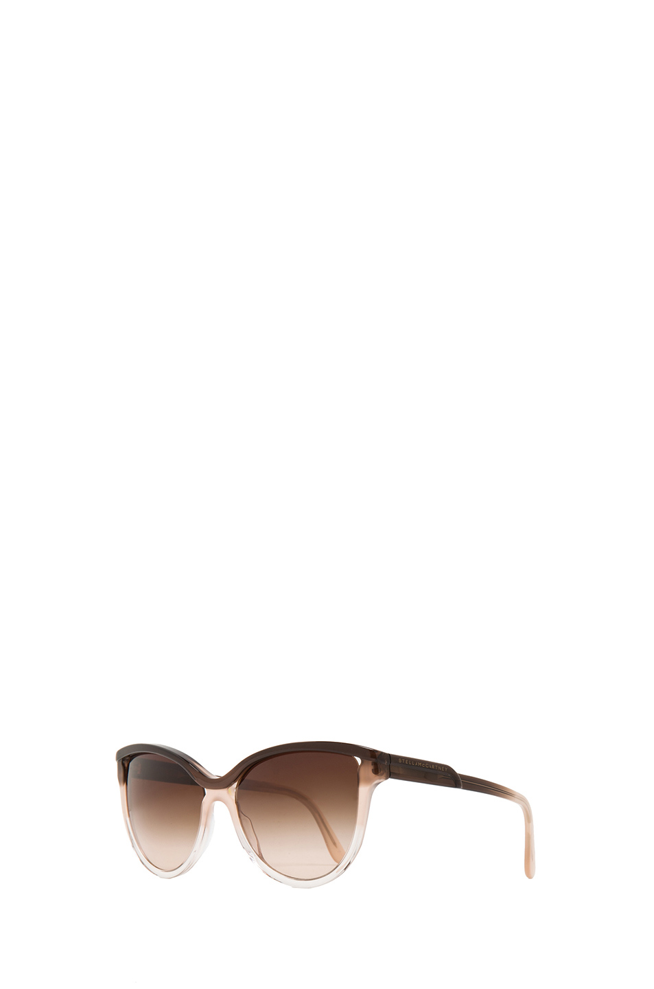 Stella McCartney|Rounded Cat Eye Sunglasses in Brown Fade