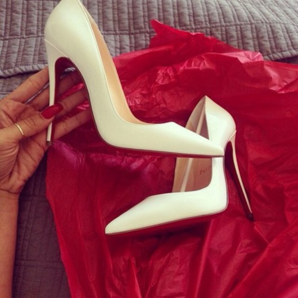 Shoes: high heels, white heels, pointy, pointed toe - Wheretoget