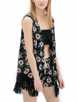 Kcloth floral printed with tassel sleeveless open front blazer in black