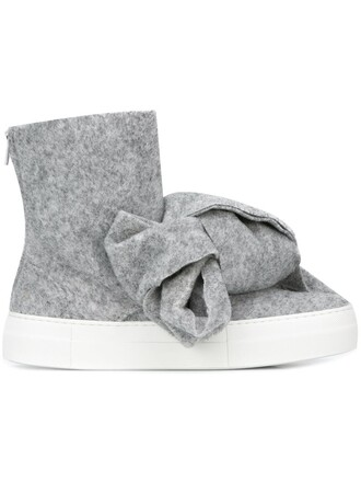 bow oversized women boots leather wool grey shoes
