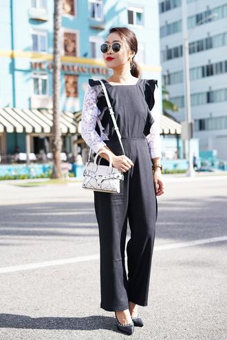 it's not her it's me blogger jewels bag jumpsuit white bag blue jumpsuit pumps spring outfits