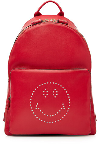 smiley backpack leather backpack leather red bag