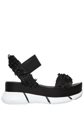 sandals platform sandals flowers black shoes