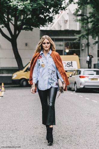 shirt fashion week street style fashion week 2016 fashion week london fashion week 2016 streetstyle kick flare kick flare pants black pants leather pants cropped pants blue shirt embroidered embroidered shirt jacket orange jacket boots black boots olivia palermo fashionista fall outfits