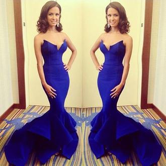 dress blue formal elegant mermaid prom dress gown strapless fashion vanessawu