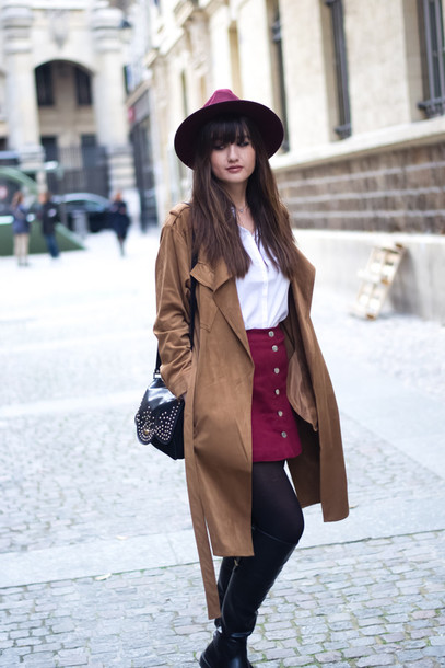 meet me in paree blogger burgundy skirt button up skirt duster coat fall outfits