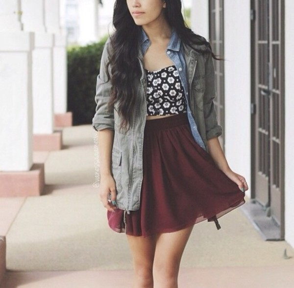 coat skirt shirt black white burgundy skater skirt jacket denim jacket vintage crop tops daisy tank top floral same